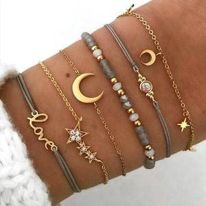 Boho gypsy love stacked moon stars bracelet set